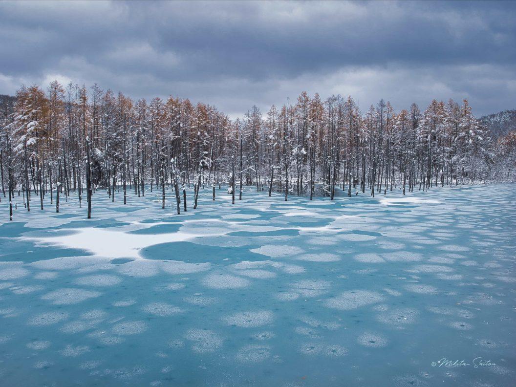 蓮氷の青い池